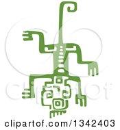 Green Mayan Aztec Hieroglyph Art Of A Lizard