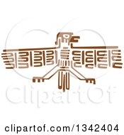 Poster, Art Print Of Brown Mayan Aztec Hieroglyph Art Of A Flying Eagle