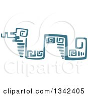 Poster, Art Print Of Teal Mayan Aztec Hieroglyph Art Of A Snake
