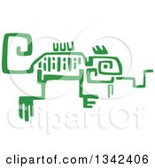Poster, Art Print Of Green Mayan Aztec Hieroglyph Art Of A Chameleon