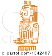 Clipart Of A Mayan Aztec Hieroglyph Art Of An Orange Sun God Idol Royalty Free Vector Illustration