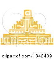 Poster, Art Print Of Yellow Mayan Aztec Hieroglyph Art Of A Pyramid