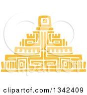 Yellow Mayan Aztec Hieroglyph Art Of A Pyramid
