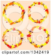 Clipart Of Colorful Autumn Leaf Wreaths 3 Royalty Free Vector Illustration