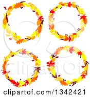 Clipart Of Colorful Autumn Leaf Wreaths Royalty Free Vector Illustration