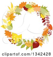 Clipart Of A Colorful Autumn Leaf Wreath 5 Royalty Free Vector Illustration by Vector Tradition SM