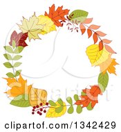 Clipart Of A Colorful Autumn Leaf Wreath 6 Royalty Free Vector Illustration by Vector Tradition SM