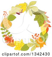 Clipart Of A Colorful Autumn Leaf Wreath 7 Royalty Free Vector Illustration by Vector Tradition SM