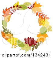 Clipart Of A Colorful Autumn Leaf Wreath 8 Royalty Free Vector Illustration by Vector Tradition SM