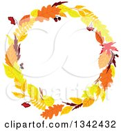 Clipart Of A Colorful Autumn Leaf Wreath Royalty Free Vector Illustration by Vector Tradition SM