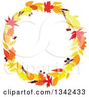 Clipart Of A Colorful Autumn Leaf Wreath 2 Royalty Free Vector Illustration by Vector Tradition SM