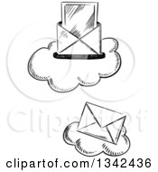 Clipart Of Black And White Sketched Mail Envelopes Over Clouds Royalty Free Vector Illustration by Vector Tradition SM