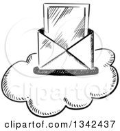 Clipart Of A Black And White Sketched Mail Envelope And Letter Over A Cloud Royalty Free Vector Illustration by Vector Tradition SM