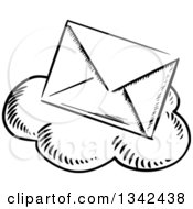 Clipart Of A Black And White Sketched Mail Envelope Over A Cloud Royalty Free Vector Illustration by Vector Tradition SM