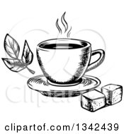 Clipart Of A Black And White Sketched Hot Tea Cup Sugar Cubes And Leaves Royalty Free Vector Illustration
