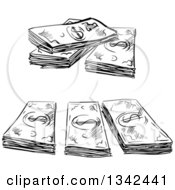 Clipart Of A Black And White Sketched Cash Money Bundles Royalty Free Vector Illustration by Vector Tradition SM