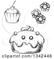 Clipart Of Black And White Sketched Cupcakes And Cookies Royalty Free Vector Illustration by Vector Tradition SM