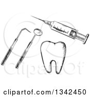 Clipart Of A Black And White Sketched Vaccine Syringe Dental Tools And A Tooth Royalty Free Vector Illustration