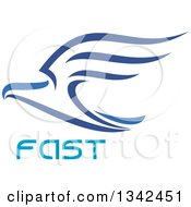 Clipart Of A Blue Flying Eagle Over Fast Text Royalty Free Vector Illustration