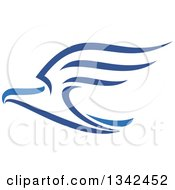 Clipart Of A Blue Flying Eagle 2 Royalty Free Vector Illustration