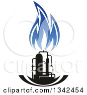 Clipart Of A Black And Blue Natural Gas And Flame Design 22 Royalty Free Vector Illustration