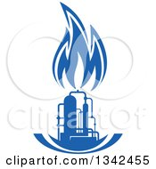 Clipart Of A Silhouetted Blue Natural Gas And Flame Factory 5 Royalty Free Vector Illustration