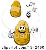 Clipart Of A Cartoon Face Hands And Russet Potatoes 2 Royalty Free Vector Illustration