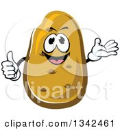Clipart Of A Cartoon Russet Potato Character Presenting And Giving A Thumb Up Royalty Free Vector Illustration