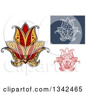 Clipart Of Beautiful Henna Lotus Flowers 3 Royalty Free Vector Illustration