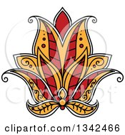 Clipart Of A Beautiful Red White And Yellow Henna Lotus Flower Royalty Free Vector Illustration