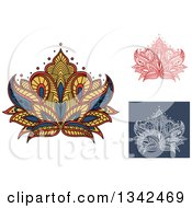 Clipart Of Beautiful Henna Lotus Flowers 2 Royalty Free Vector Illustration