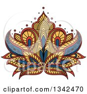 Clipart Of A Beautiful Blue Yellow And Red Henna Lotus Flower Royalty Free Vector Illustration