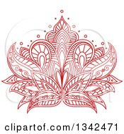 Clipart Of A Beautiful Red Henna Lotus Flower 6 Royalty Free Vector Illustration