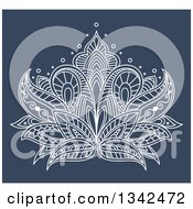 Clipart Of A White Henna Lotus Flower On Blue 5 Royalty Free Vector Illustration