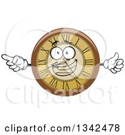 Clipart Of A Cartoon Wall Clocks Character Giving A Thumb Up And Pointing Royalty Free Vector Illustration
