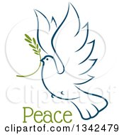 Clipart Of A Sketched Flying Navy Blue Peace Dove With A Branch And Text 4 Royalty Free Vector Illustration