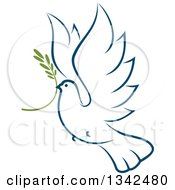 Clipart Of A Sketched Flying Navy Blue Peace Dove With A Branch 4 Royalty Free Vector Illustration by Vector Tradition SM