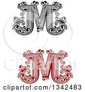 Clipart Of Retro Black And White And Red Capital Letter M With Flourishes Royalty Free Vector Illustration