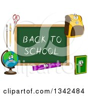 Clipart Of A Cartoon Chalkboard With Back To School Text And Characters 2 Royalty Free Vector Illustration