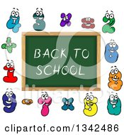 Clipart Of A Cartoon Chalkboard With Back To School Text And Number Characters Royalty Free Vector Illustration