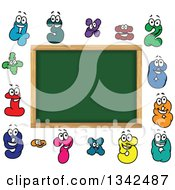 Clipart Of A Cartoon Blank School Chalkboard With Number Characters Royalty Free Vector Illustration