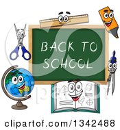 Clipart Of A Cartoon Chalkboard With Back To School Text And Characters Royalty Free Vector Illustration