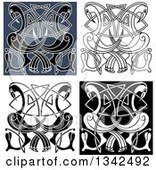 Clipart Of Celtic Knot Crane Or Heron Designs 2 Royalty Free Vector Illustration