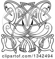Clipart Of Black And White Lineart Celtic Knot Cranes Or Herons Royalty Free Vector Illustration by Vector Tradition SM