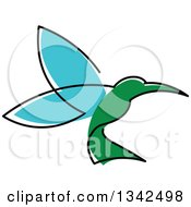 Clipart Of A Sketched Green And Blue Hummingbird Royalty Free Vector Illustration