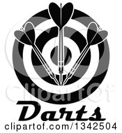 Clipart Of A Black And White Target With Darts And Text Royalty Free Vector Illustration
