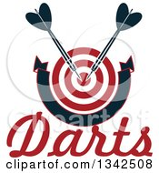 Clipart Of A Red And White Target With Darts A Blank Banner And Text Royalty Free Vector Illustration