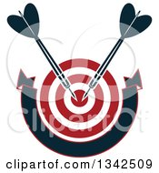Clipart Of A Red And White Target With Darts And A Blank Banner Royalty Free Vector Illustration