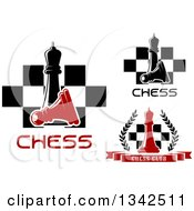 Clipart Of Chess Queens Pawns Boards And Wreaths With Text Royalty Free Vector Illustration