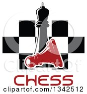Clipart Of A Black Chess Queen Over A Fallen Red Pawn Text And A Board Royalty Free Vector Illustration